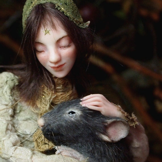 Fairy with mouse OOAK Polymer Clay Art Doll Sculpture