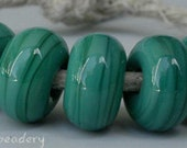 Lampwork Spacer Glass Beads 5 PETROLEUM GREEN Glossy & Matte Handmade Donut Rondelle 8-10 mm options