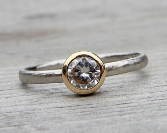 Engagement Ring - Forever One G-H-I Moissanite, Recycled 14k Yellow Gold and 950 Palladium Solitaire, Two-Tone, Bezel Set, Made to Order