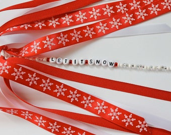 LET IT SNOW Red and White Snowflake Personalized Name Ponytail Holder Hair Tie Ribbon Boutique Bow with Seasonal Christmas Greeting