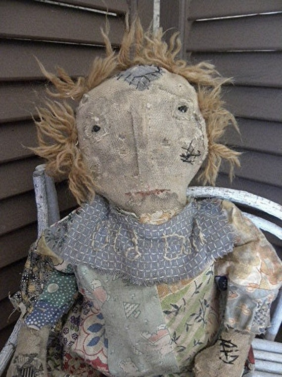 Extreme Primitive Rag Stuffed Old Worn Torn Doll Patchwork