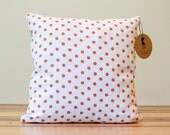 Orange Polka Dot Linen Pillow - 14 Inches - Made to Order