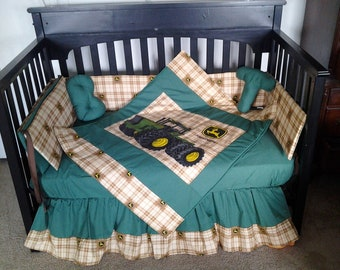 SALE!!! New 7 piece JOHN DEERE baby crib bedding set in brown Deere plaid fabric and green accent fabric
