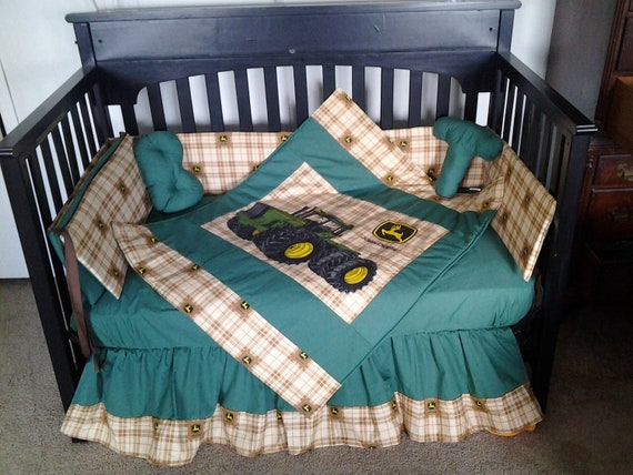 John Deer Plaid Brown Blue/Green Crib Set by KustomKidsBedding