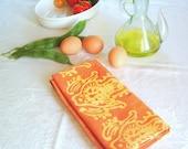 orange and yellow floursack towel. made to order