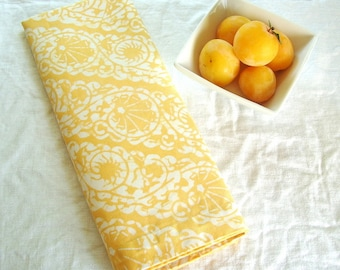 plum yellow tea towel organic linen scallops