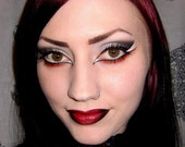 Vampire Chic set-Undead Foundation-Lust Dust-Into the Light silver-Slayed charcoal black eyeliner-Bite me dark-Blood Sucker red