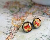 vintage rose -floral wallpaper- antique brass framed post earrings
