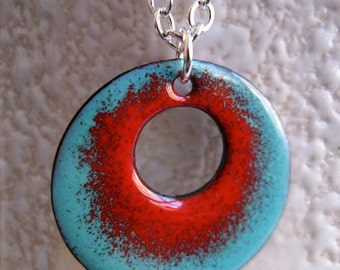 Reversible Enamel Ombre Circle Pendant Necklace, Robins Egg Blue and Cherry Red Glass Enamel, 16 or 18 Inch Sterling Silver Chain