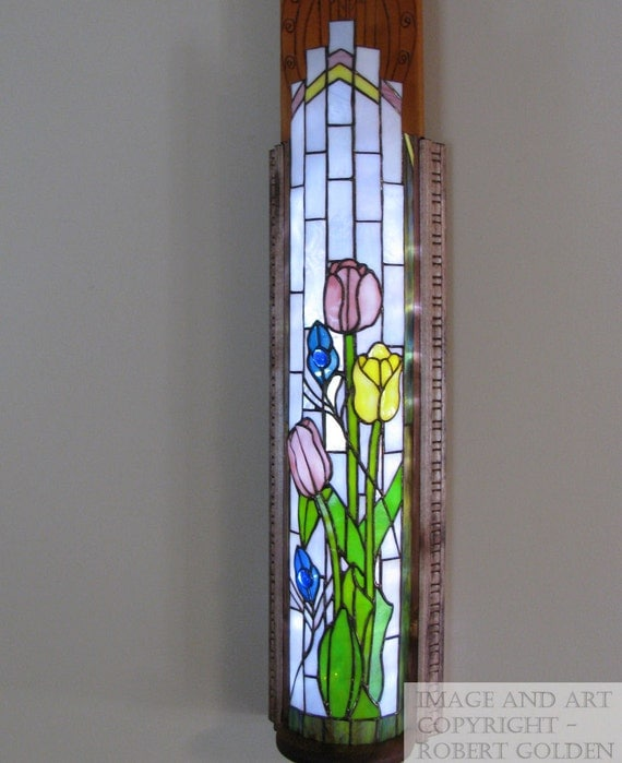 Stained Glass Lamp - Art Deco - Tulip and Peacock Feather - Wall Sconce - FREE SHIPPING