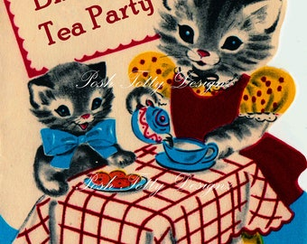 A Kittens Tea Party 1940s Vintage Greetings Card Digital Download Printable Images (304)
