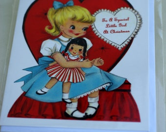Vintage 1950s To A Special Little Girl At Christmas Reproduction Greetings Card