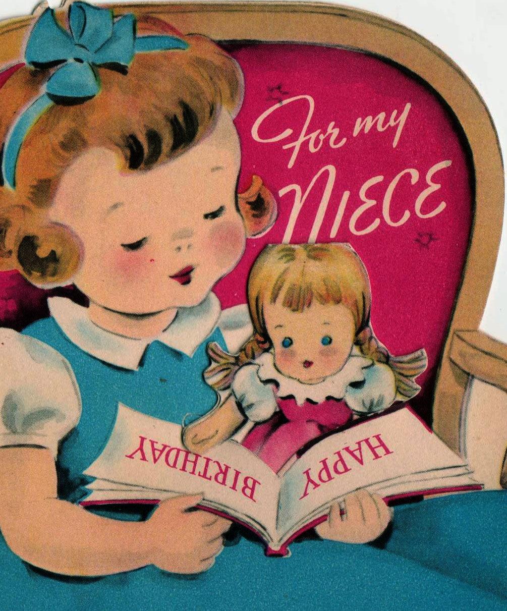 Vintage 1950 For My Niece Happy Birthday Greetings Card B2