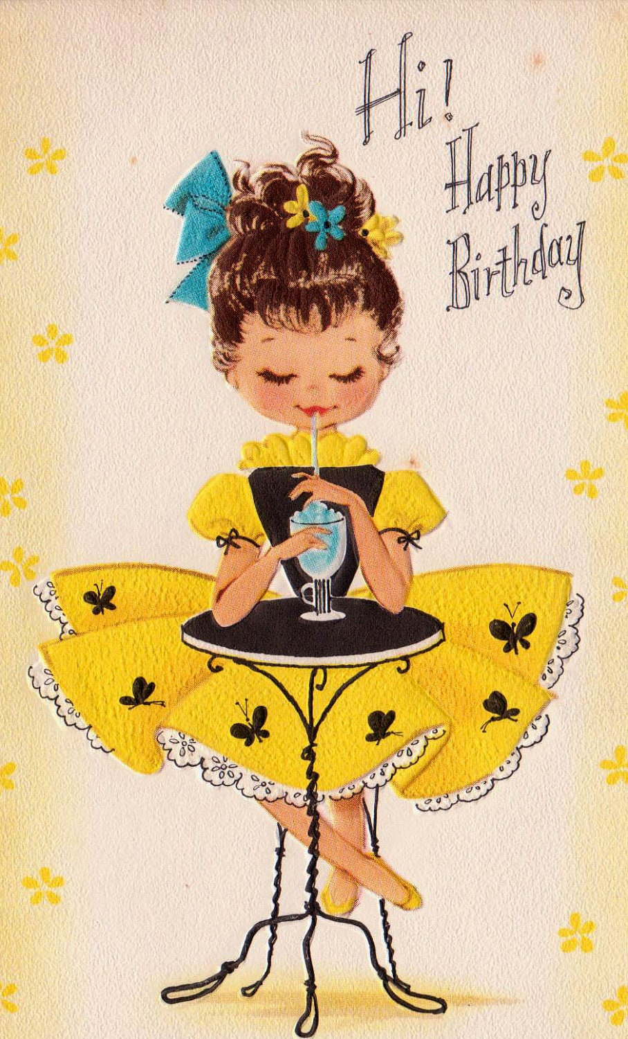 Vintage 1960 Hi Happy Birthday Greetings Card B2