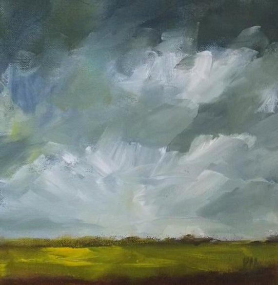 original oil landscape painting clouds sky storm