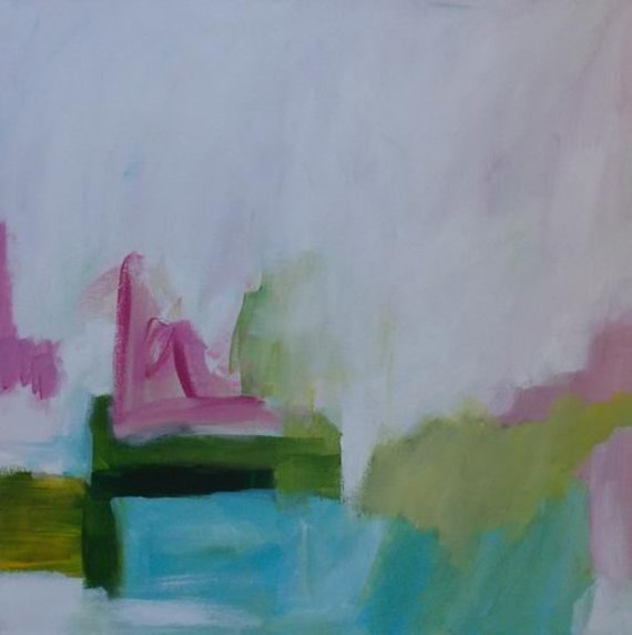 abstract art acrylic painting original pink and green spring colors modern art