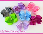 100 COLORS Choose 5 Custom Boutique Hair Bows, girls bows, toddler bow, machine washable bows, school bows, international shipping