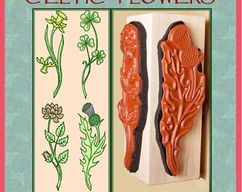 Celtic Flowers Rubber Stamp Four Designs on One Mounting Thistle Shamrock Daffodil Rose