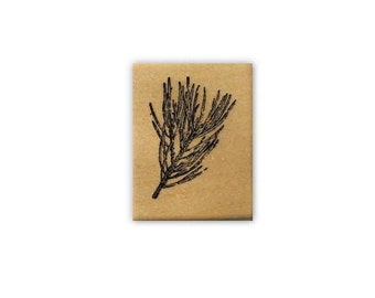 PINE BRANCH mounted rubber stamp, Christmas, winter, gift tag stamp, forest, nature, pinecone, Sweet Grass Stamps No.19
