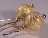White 24k gold Venetian Murano glass gold fill earrings