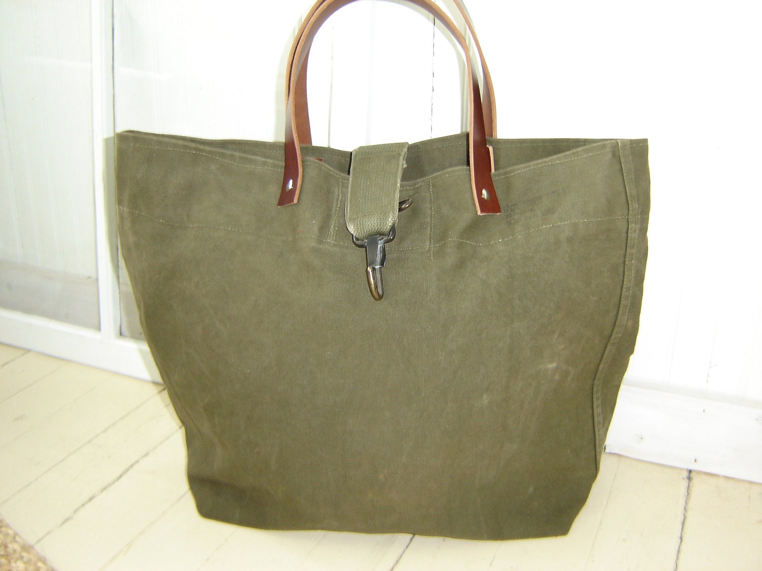 Recycled Military Bag Waxed Canvas Tote Weekender Travel Bag