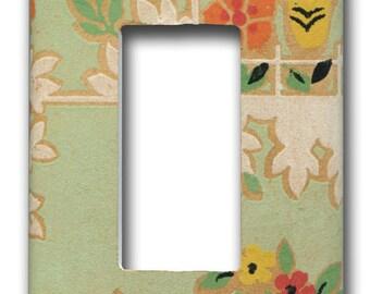 Decora Single Switch Plate Soft Green Floral Deco 1930's Antique Wallpaper