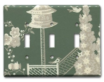 Colonial Gardens 1950's Vintage Wallpaper Triple Switch Plate