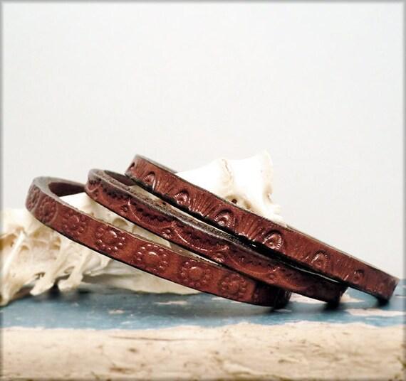 B1205 Leather Bangless Banglettes set of 3