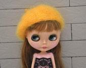 Babydoll Longhair Angola Wool Golden Beret for Blythe Doll