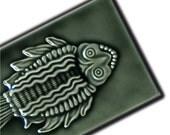 Inuit Inspired Fish Tile - handmade ceraimc tile for home decor - kitchen, bath, fireplace