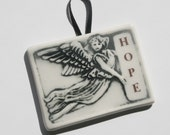 Angel of HOPE - handmade tile ornament  with decal lettering - for your holiday tree or gift tag