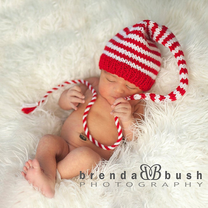 Newborn Baby Christmas Hat KNiT BaBY PHOTO PROP Long Stocking