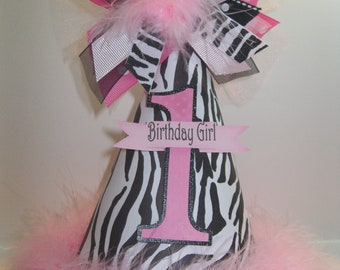 Personalized Light Pink and Zebra Birthday Party Hat