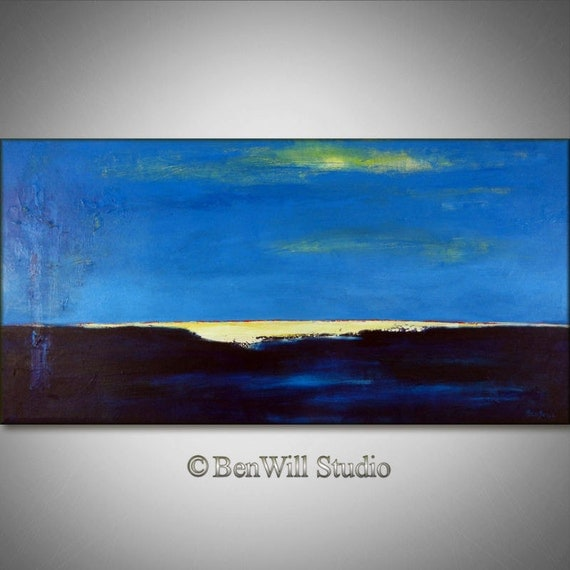 ORIGINAL Abstract BLUE Painting Large Modern Wall Art Oil Painting - White HORIZON 48x24 Fine Art by BenWill