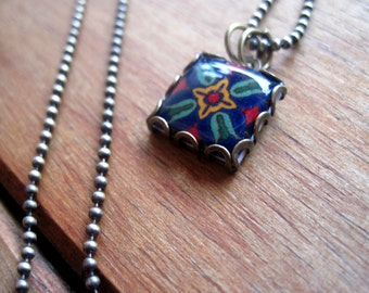 Catalina Tile necklace,  Arts & Crafts jewelry, Art Deco jewelry, Mission style, MTO, California Pottery design jewelry