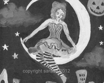 Antique moon old fashioned black/white circus girl burlesque art 5 x 7 matte print repro
