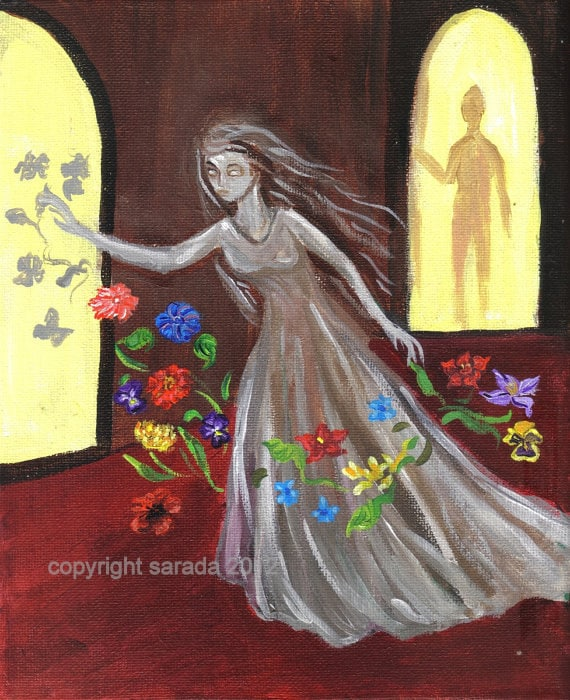 Halloween art Haunted by Flowers original gothic ghost story 8 x 10 acrylic painting, Victorian woman, dark art shadow people