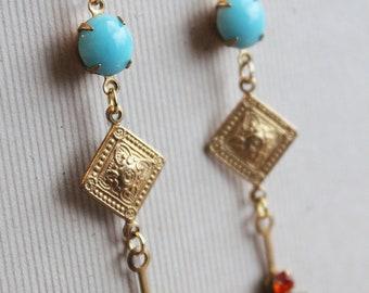 Vickee Earrings - Vintage Glass & Swarovski - Brass