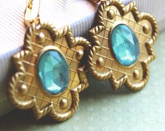 Melina Earrings - Brass - Vintage Glass