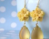 Vintage Yellow Opal Swarovski Rose Earrings