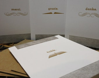 Letterpress Movember Thank You Cards - Series 2 - Set of 4