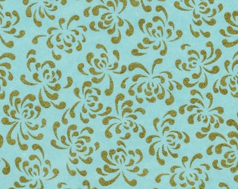 Chiyogami or yuzen paper - elegant gold chrysanthemums on pale aqua background, 9x12 inches