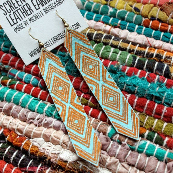 Screen Printed Leather Friendship Earrings-Saddle and Turquoise