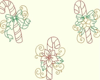 INSTANT DOWNLOAD Candy Canes Christmas Multi Color Redwork Machine Embroidery Designs