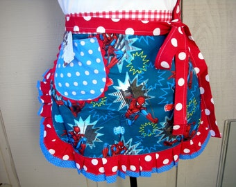 Womens Aprons -Womens Spider Man Aprons - Super Hero Aprons - Waist  Spider Man Apron - Teachers Gifts - Annies Attic Aprons - Blue Aprons