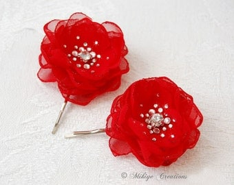 Wedding Bridesmaid Hair Flowers, Flower Girl Hair Flowers,  Wedding Bridal Mini Red Hair Flower Bobby Pins - Christie in Hot Red