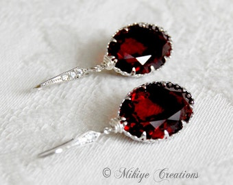 Bridesmaid Earrings - Bridal Jewelry - Wedding Accessories - Special Occasion - Garnet Swarovski Crystal Earrings