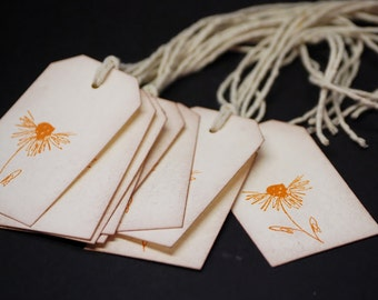 Autumn Scribble Flower, mini tags, set of 10 small hang tags