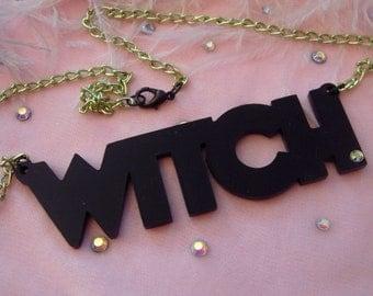 Black WITCH Acrylic Necklace