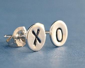 Silver Stud Earrings , XO Earrings , Hugs and Kisses , Sterling Silver Earrings